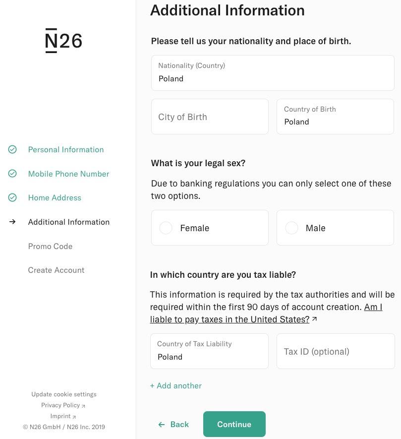 N26: Dodatkowe informacje - narodowość, miasto urodzenia, kraj urodzenia, płeć, rezydencja podatkowa
