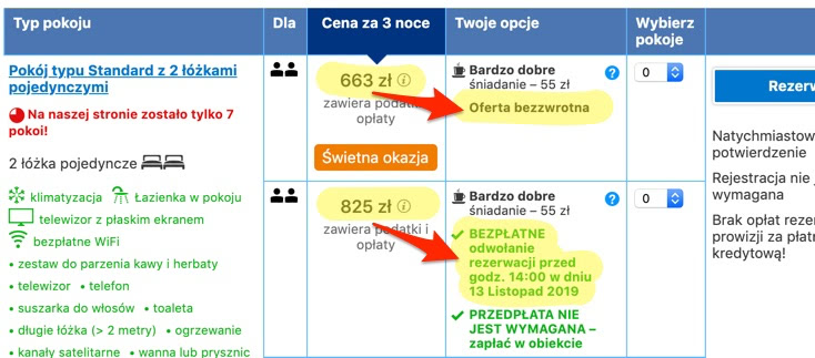 Booking.com: Oferta bezzwrotna