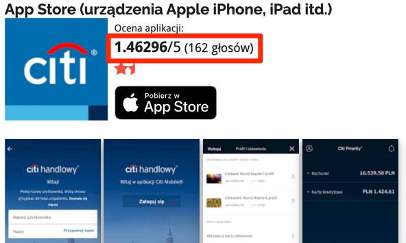 Aplikacja Citi Handlowy na iOS