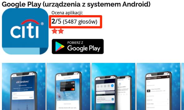Aplikacja Citi Handlowy na Androida