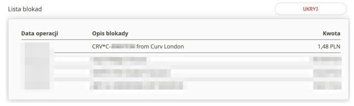Blokada autoryzacyjna Curve z kodem na karcie mBanku