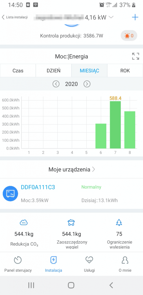 Fotowoltaika - panel sterujący - aplikacja 3