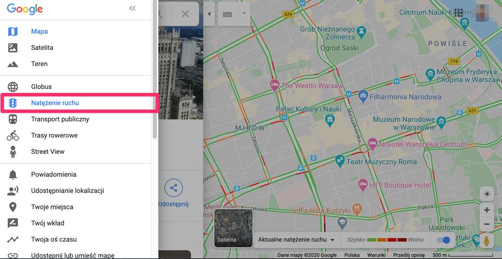 """Opcja """"natężenie ruchu"""" w Google Maps"""