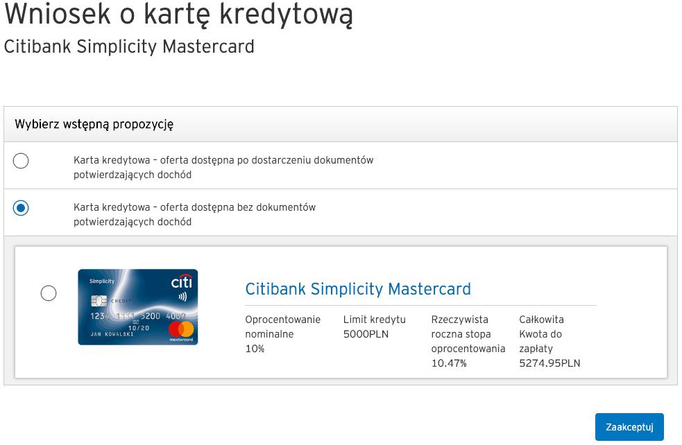 Wniosek Citi: Wstępna propozycja karty kredytowej